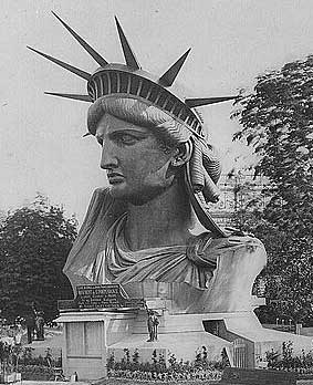 Head                 of the Statue of Liberty on display in Paris